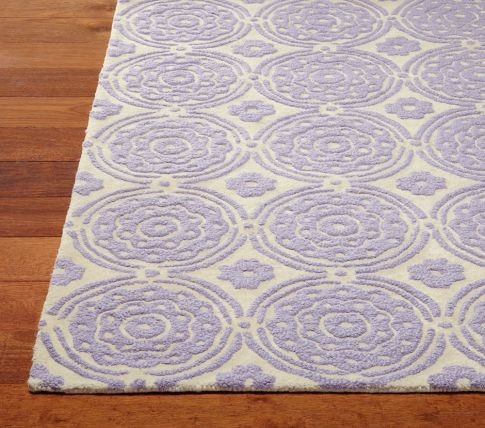"Pottery Barn Kids Lavendar Girls ""Sweet Flower Rug"" 5x8 