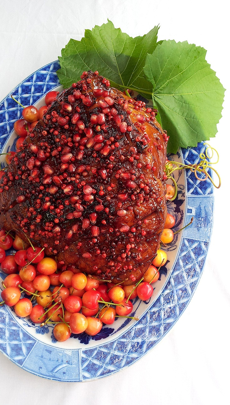 Gammon with a Pomegranate and Pink Peppercorn Glaze, for a South African  #Christmas feast. #recipes #gammon #South Africa