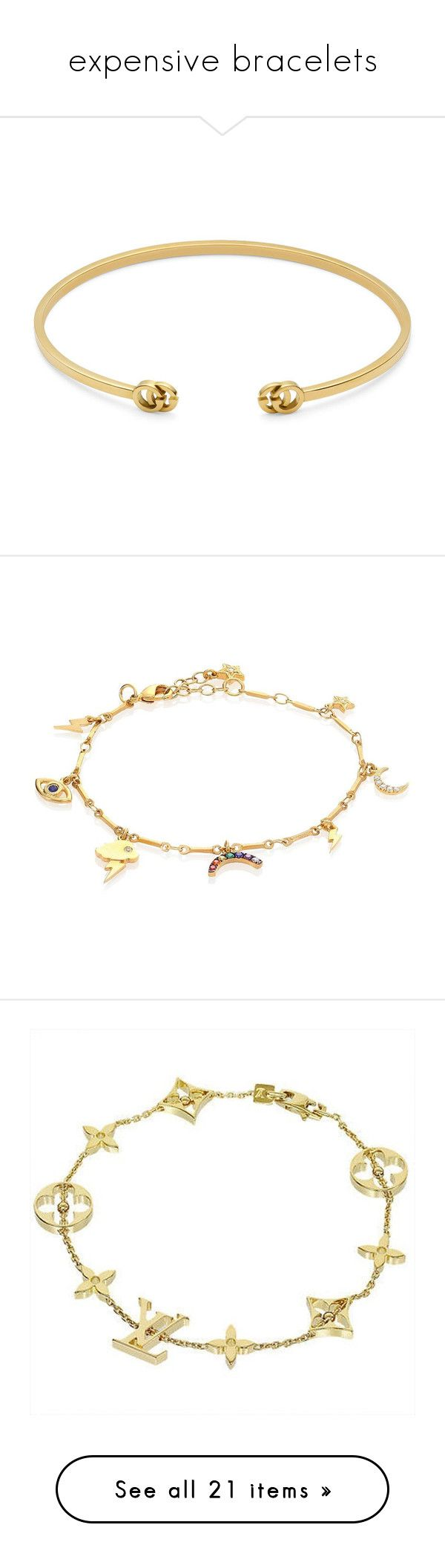 """expensive bracelets"" by mrstomlinson974 on Polyvore featuring jewelry, bracelets, accessories, braccialetti, 18k gold jewelry, gucci jewellery, 18k gold bangles, yellow gold cuff bracelet, gold cuff bangle and charm jewelry"