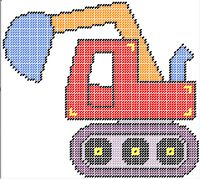 Back hoe  Pattern can be purchased on my website @ http://plasticcanvas.ca     Artwork by ClipArtopia