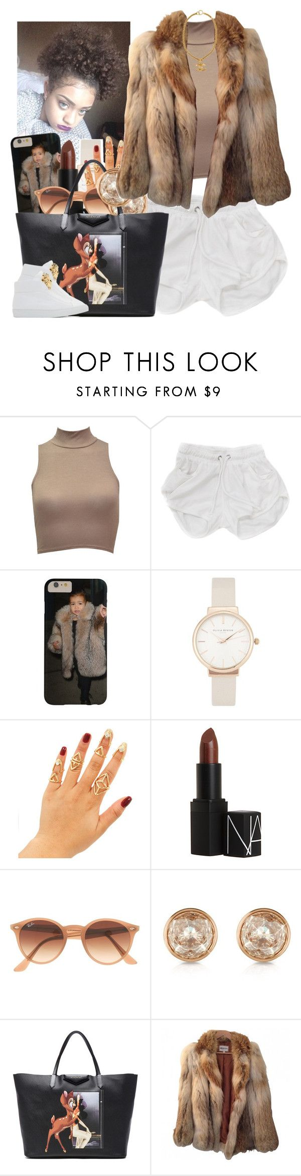 """""""✨"""" by newtrillvibes ❤ liked on Polyvore featuring Olivia Burton, NARS Cosmetics, Ray-Ban, Michael Kors, Givenchy, American Retro, Versace and Chanel"""