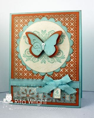 by Rita Wright  Stamps: Strength & Hope (retired), Tiny Tags  Ink: Pool Party, Crumb Cake  Paper: Pool Party, Peach Parfait, Everyday Enchantment DSP, Very Vanilla  Tools/Accessories: Big Shot, Scallop Circles #2 die, 3-inch circle die, Beautiful Butterflies die, Beautiful Wings embosslit, Jewelry Tag punch, Champagne Mist Shimmer Paint, sponges, Pool Party Ruffled ribbon, Basic Pearls