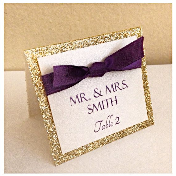 Gold glitter and champagne seating card with ribbon, gold wedding place card- but with black ribbon