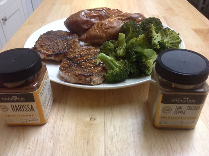 Barbecued pork chops rubbed with YIAH Harissa Spice Blend, baked sweet potato (when cut open) sprinkled with YIAH Country Baked Apple Pie baking spice and steamed broccoli with YIAH Lime Cracked Pepper  #yiah