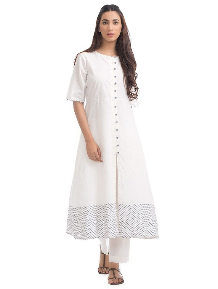 Buy Ivory Button down Embroidered Cotton Kurta Women Kurtas Summer Serenity dresses stoles and more in an palette Online at Jaypore.com
