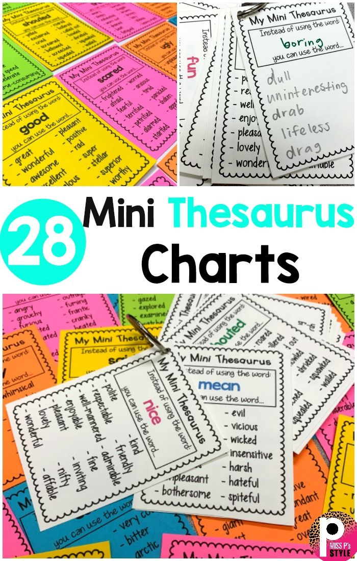 28 Mini Thesaurus Charts Thesaurus Activities Language Arts Lessons Language Arts Lesson Plans