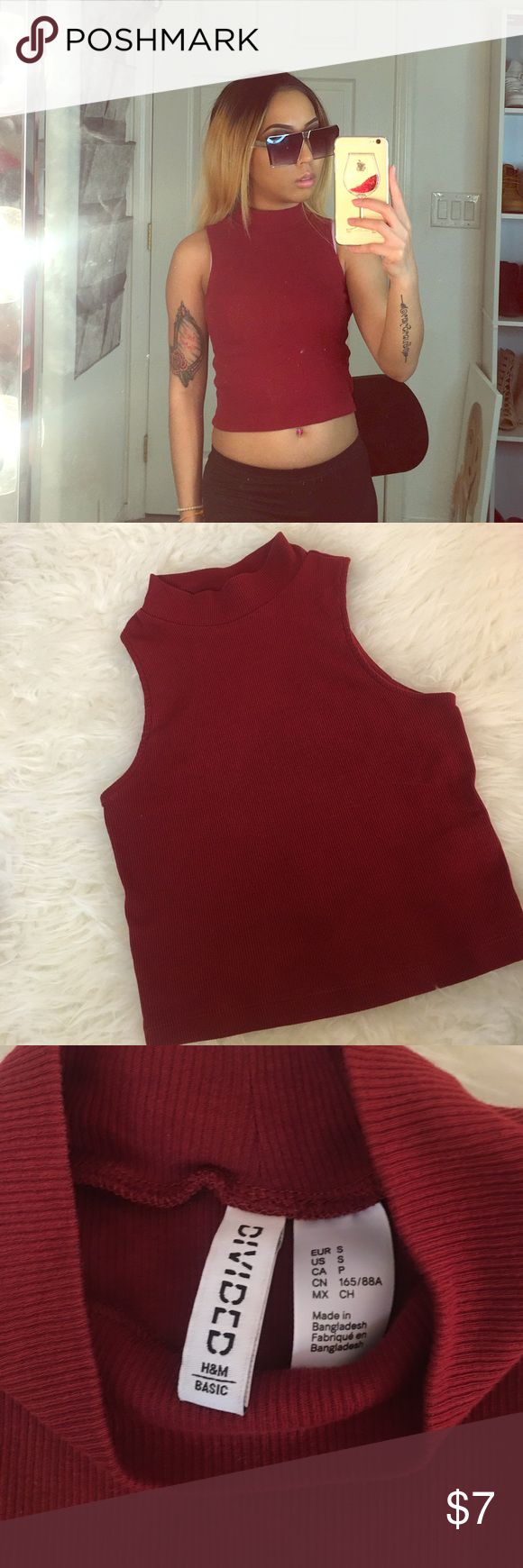 H&M Turtleneck Crop Top Cute & simple turtleneck crop top from H&M. The color of the top is maroon. Only worn once. H&M Tops Crop Tops