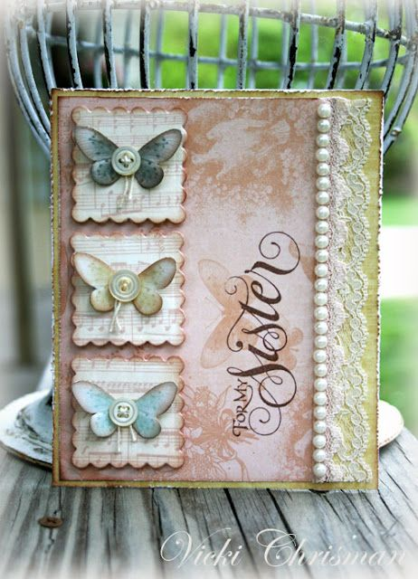 butterflies and buttons card, love the pearl & lace trim too