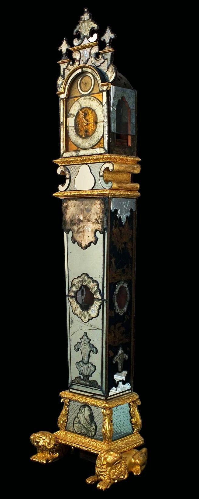 Mirror standing clock by Christoph Benjamin König in Wrocław, before 1730, Muzeum Pałacu Króla Jana III w Wilanowie, one of a pair of clocks made for Anna Orzelska's Blue Palace in Warsaw