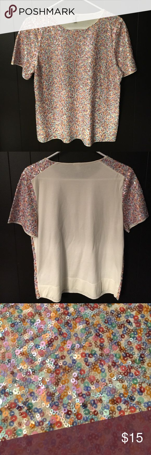JCrew Sequin TShirt Fun, pastel colored sequin t-shirt that's great to pair with jeans, white pants or a skirt. Worn once. Smoke-free home. jcrew Tops Tees - Short Sleeve