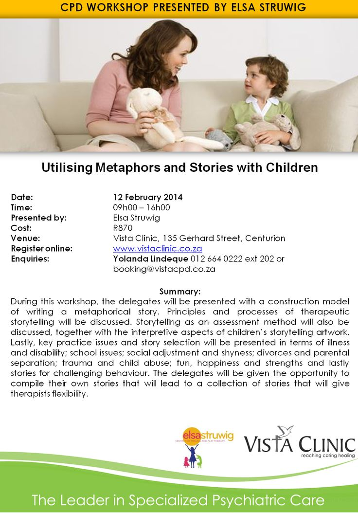Upcoming CPD Workshop presented by Elsa Struwig.  Contact Yolanda for more information 012 664 0222