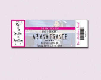 Custom Concert Ticket Gift Certificate - Ariana Grande Honeymoon Tour - Printable