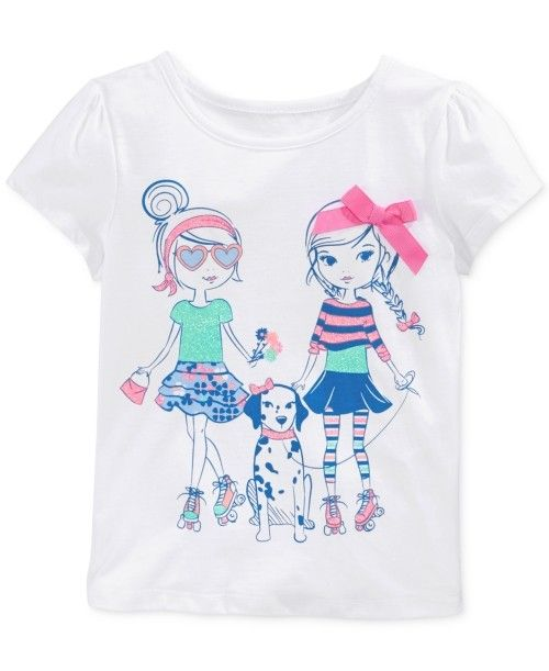 This is a kids' girls' bright white polyester cotton toddler graphic little matching t shirt from Epic Threads, a close-fitting pullover shirt.