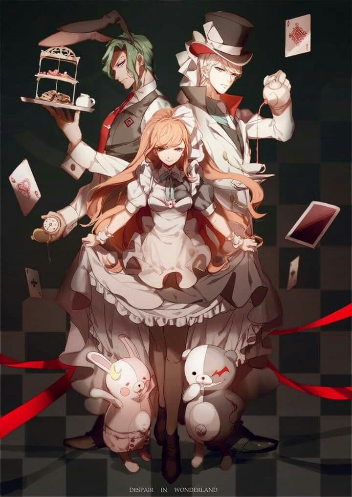 Juzo, Chisa and Kyosuke Alice in Wonderland Style- Danganronpa 3