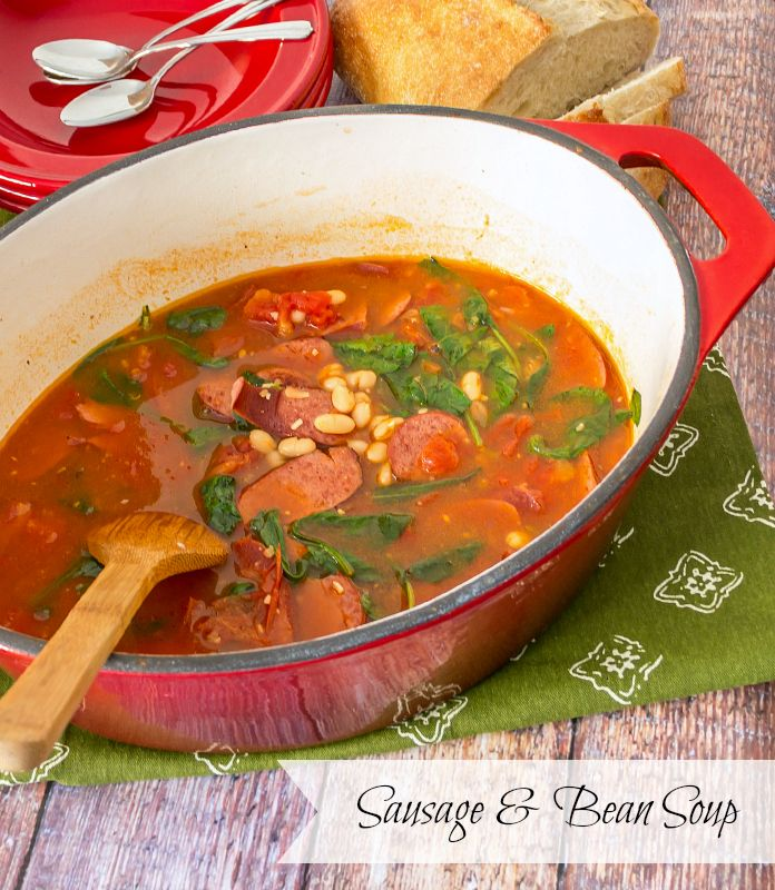 Healthy Bean and Sausage Soup #15MinuteSuppers