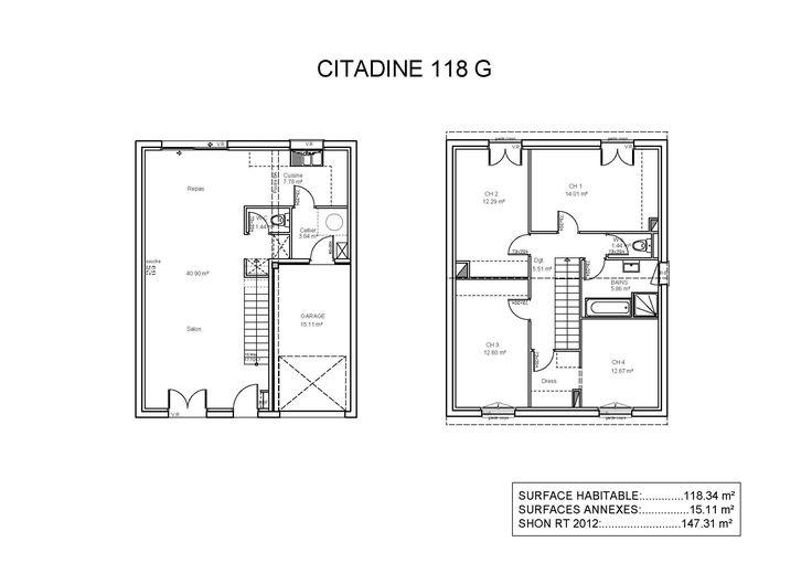 Modèles et plans de maisons \u003e Modèle à étage Ligne Citadine - Plan Gratuit De Maison Plain Pied