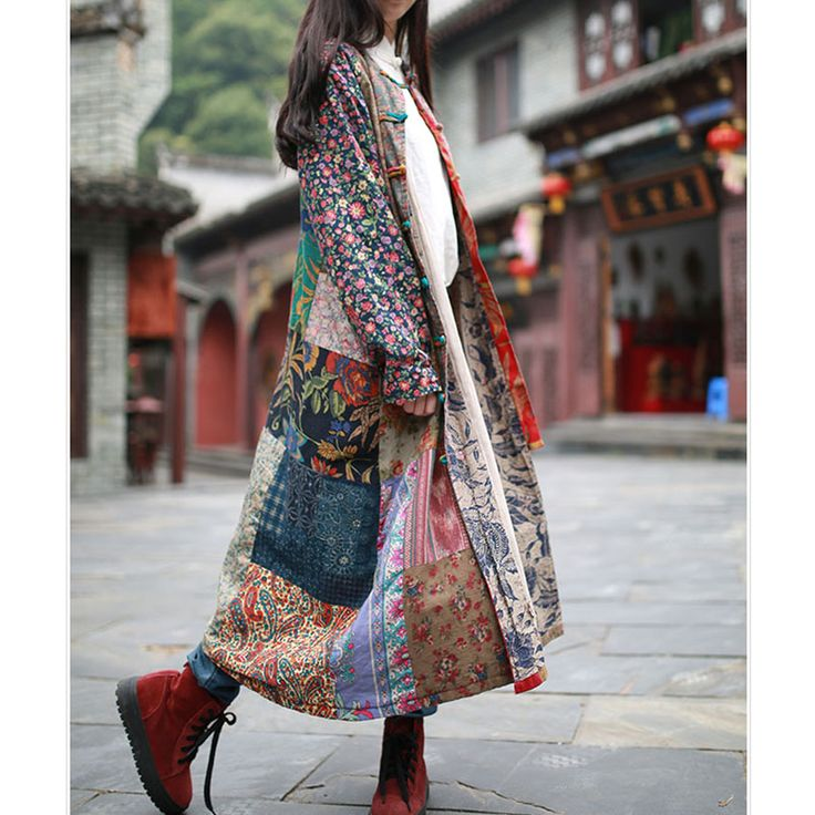 2016 Spring Dress Cotton Linen Patchwork Women Dress Long Windbreaker Chinese Traditional Dresses Ethnic Clothes Outerwear