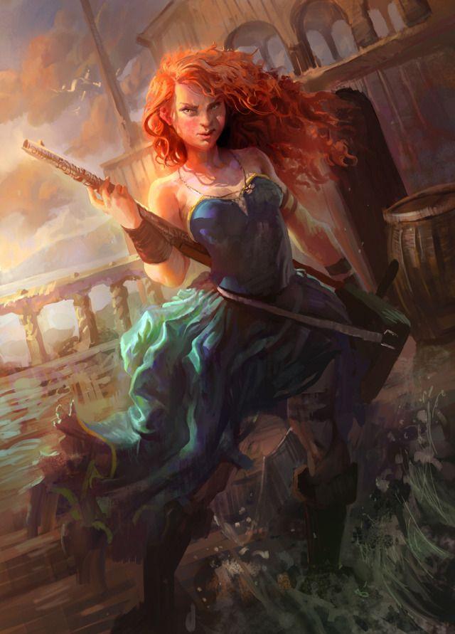 Pirate Art Gallery | Pirate Merida Picture (2d, fan art, fantasy, pirate, girl, woman ...