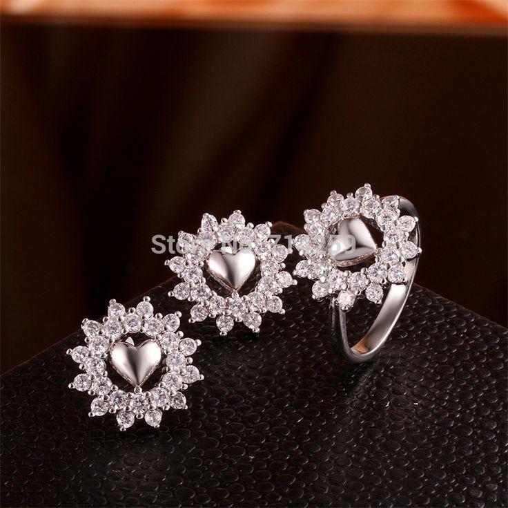 Золото / розовое золото / платиновое покрытие серьги d ожерелье ювелирные комплект Gem белый камень KS018