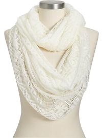 Love he lace look- Old Navy: White Scarfs, Embroidered Scarves, Knits Scarves, White Scarves, Infinity Scarfs, Scarfs Knits, Sensat Scarves, Infinity Scarves, Stripes Scarves