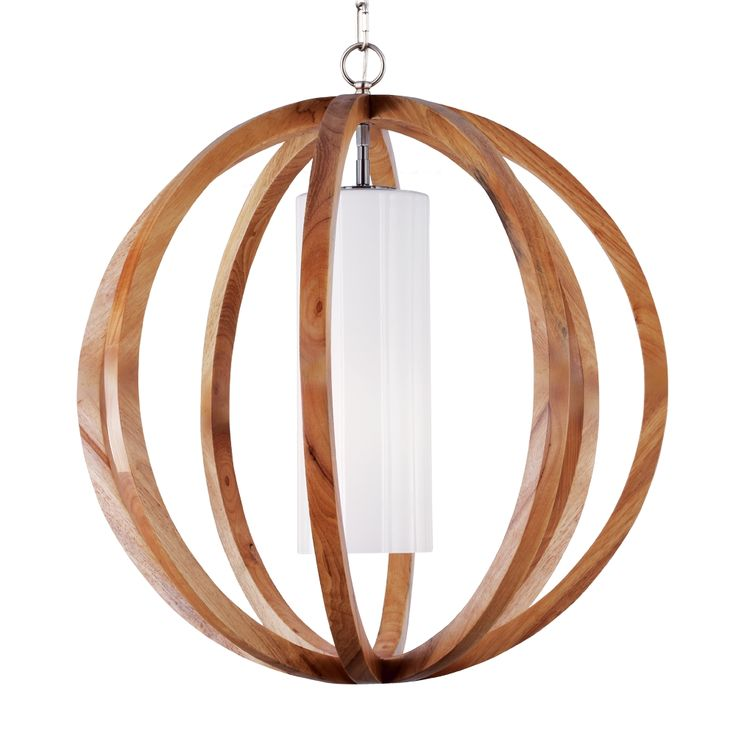 F2952/1LW/BS,1 - Light Allier Large Pendant,Light Wood / Brushed Steel