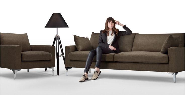 Mendini 3 Seater Sofa in chocolate brown | made.com