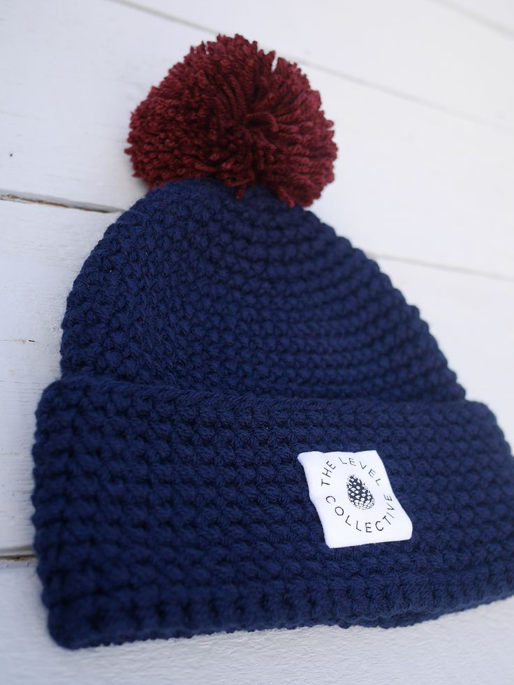 'Big Bob Original' Navy / Burgundy Bobble chunky knit beanie hat with bobble ethically handmade in Romania for The Level Collective