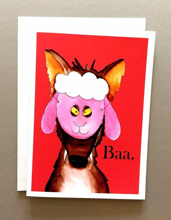 Baa Humbug Christmas wolf greeting card holiday funny custom