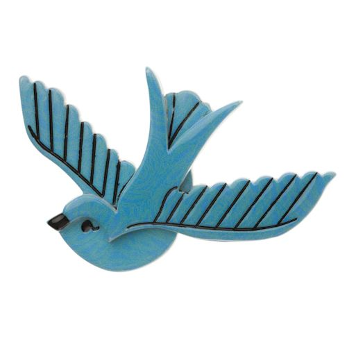 Limited edition, original Erstwilder Flying With Fifi Brooch in blue. Designed by Louisa Camille Melbourne. Buy now