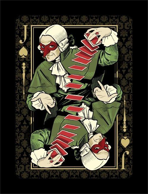 Jack of Spades: Venexiana Dark playing cards - by Half Moon