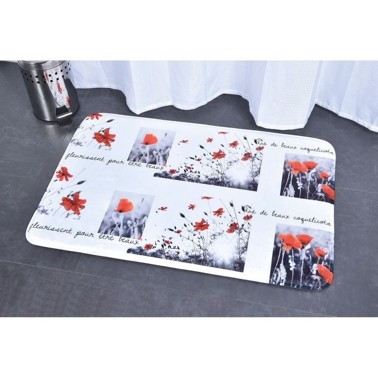 Evideco Microfiber Bath Mat Design Poppy White Red Bath Rug