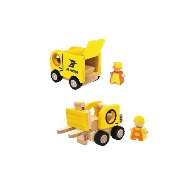 Camion postal et chariot élévateur