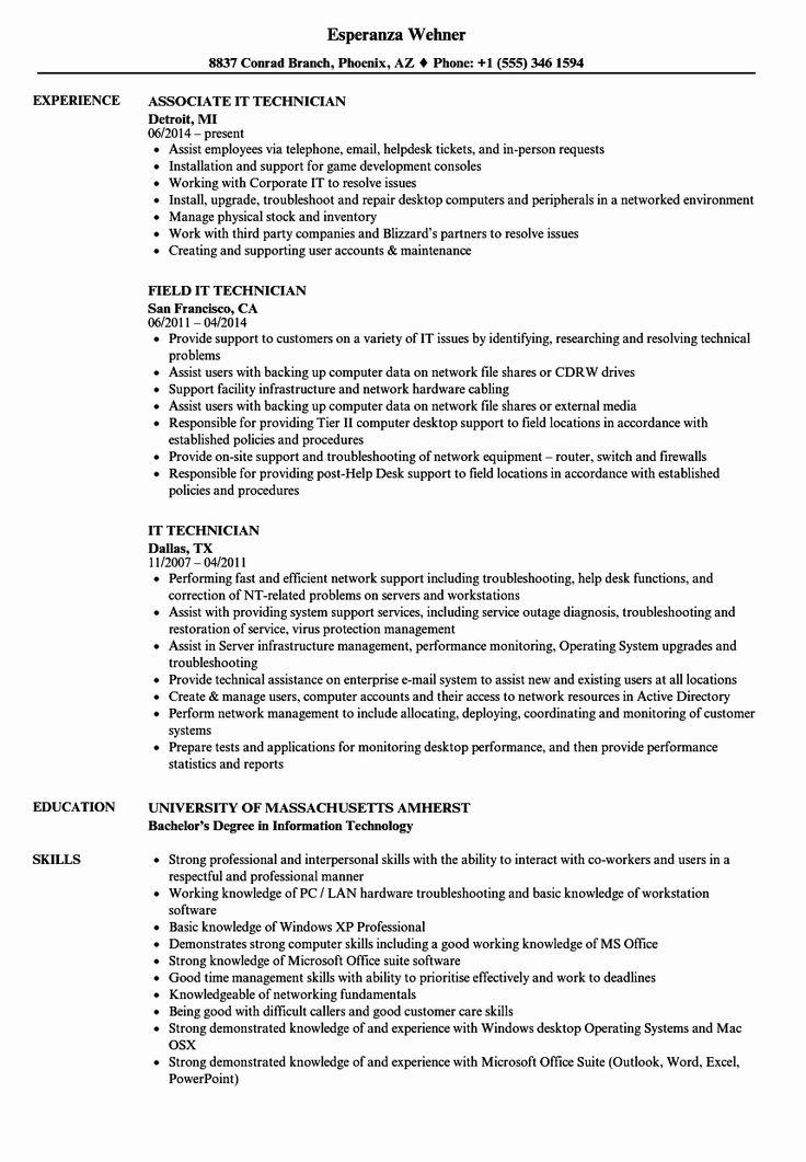Computer technician job description resume elegant 20