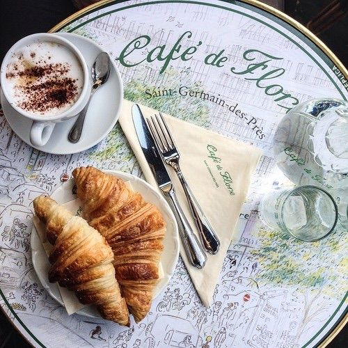 Image via We Heart It #breakfast #cafe #coffee #monday #morning #Paper #croisant