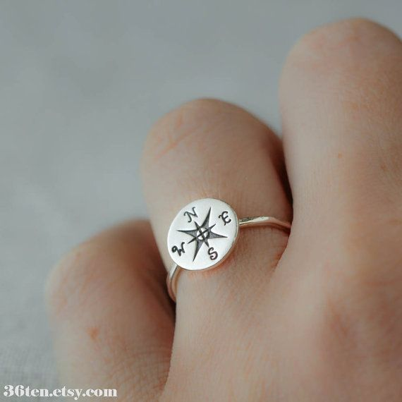 Compass Ring Sterling Silver Ring Natical casual jewelry by 36ten