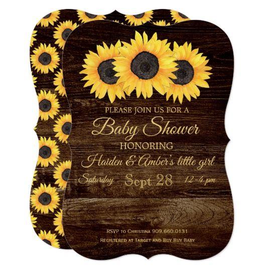 Sunflowers Baby Shower Invitation Rustic Wood