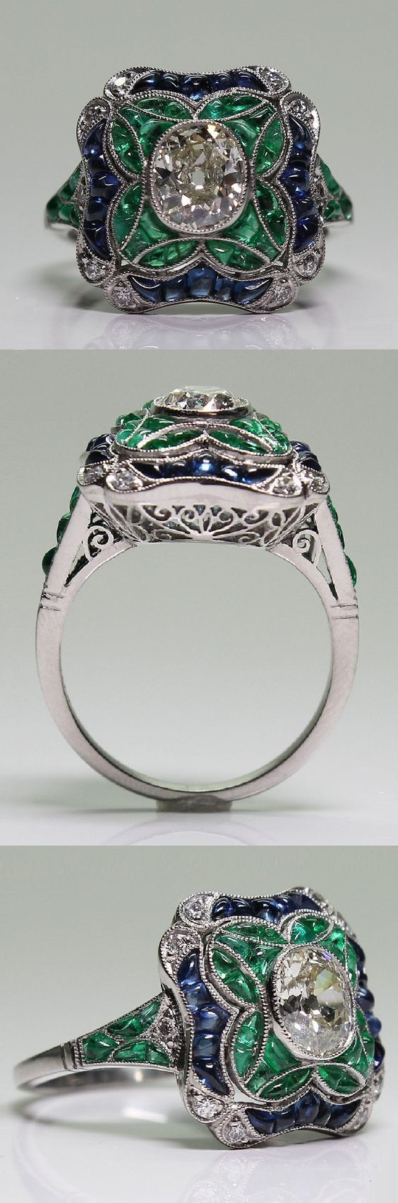 An art deco platinum diamond sapphire and emerald ring 1920 35
