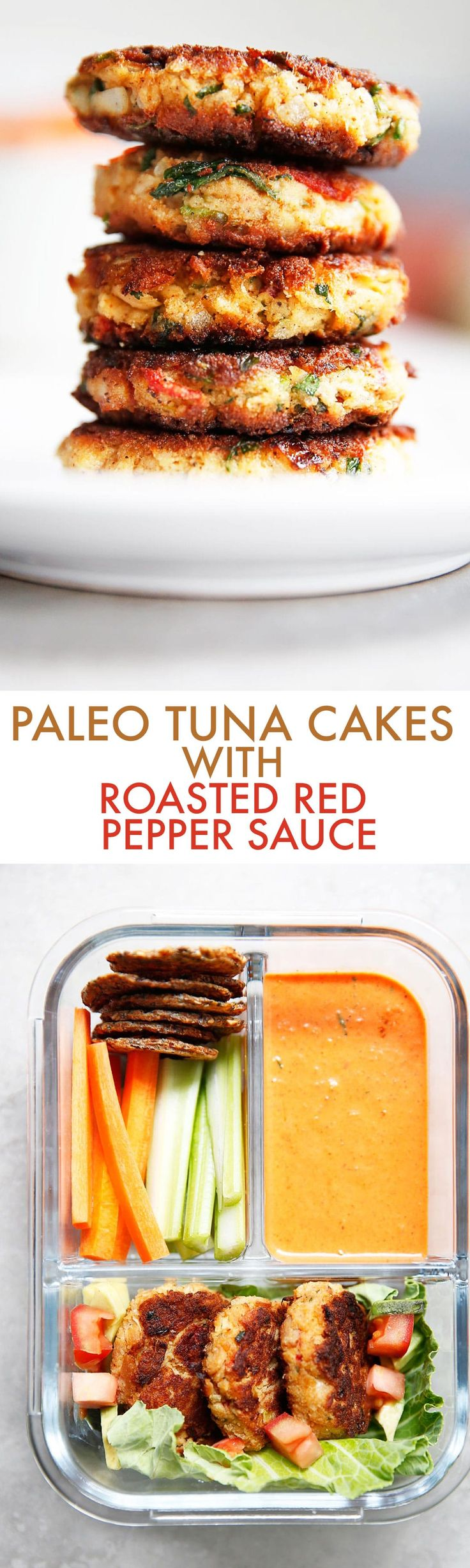 Looking for an easy, low carb lunch to meal prep? These Paleo Tuna Cakes with Roasted Red Pepper Sauce are flavorful, easy to make, and perfect for meal prep lunches all week long. Everybody will love this tuna cakes recipe, and they are made gluten-free, grain-free, low carb, and paleo-friendly! #tuna #healthy #lunch #easy #keto