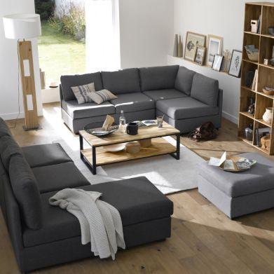 table basse ch ne et acier hiba tables. Black Bedroom Furniture Sets. Home Design Ideas