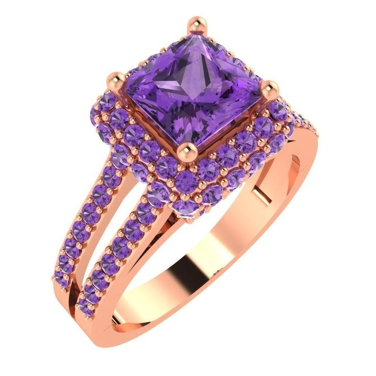2.20ct Princess Cut Amethyst Solitaire Halo Engagement Ring 14k Rose Gold Over #HIYAJEWELS #Halo #Engagement
