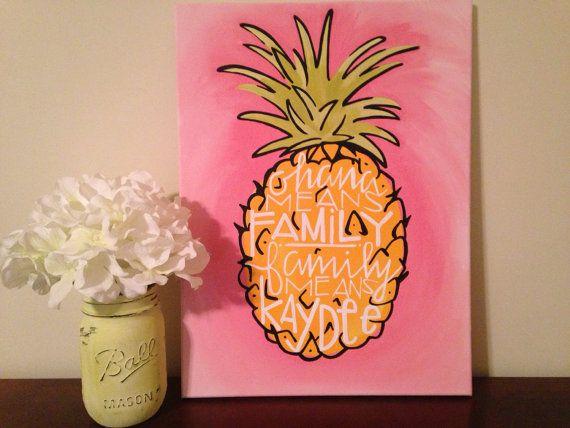 Ohana Means Family Greek Family by FoxAndFin on Etsy  Kappa Delta . Custom . Canvas . Pineapple . Greek . Sorority . Family .