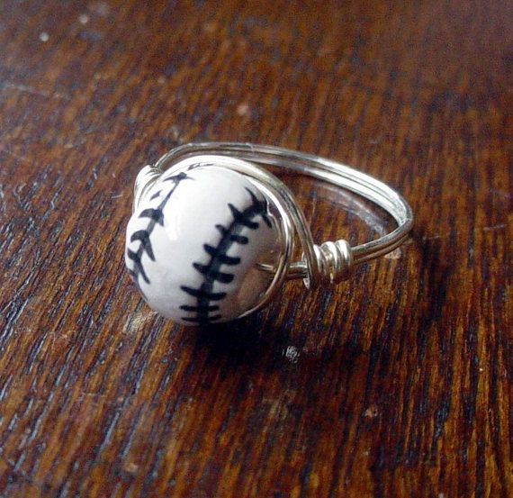 Baseball Wire Wrapped Ring, ceramic bead, custom size. $10.00, via Etsy.