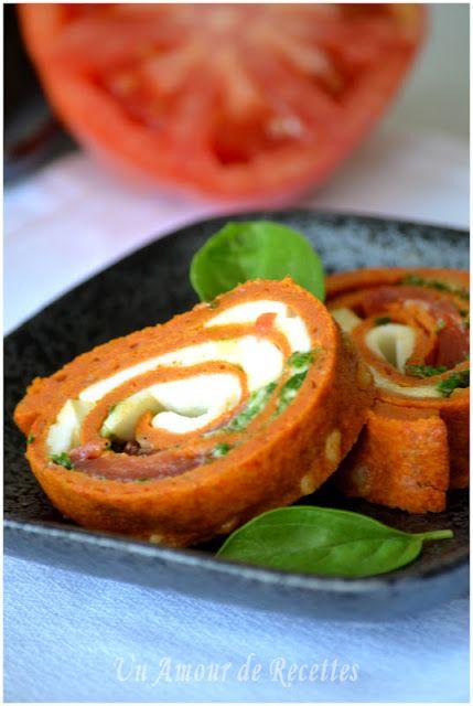 Roulé à la tomate, mozzarella et basilic ~ Un Amour de Recettes