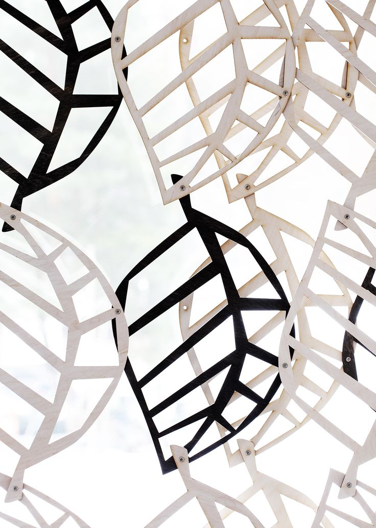 Wooden lace is room devider or window cover. The wooden equivalent is contrasting – its fragility is only visual, amplified through the various ways the light plays on large surfaces. #habitare2015 #design #sisustus #messut #helsinki #messukeskus
