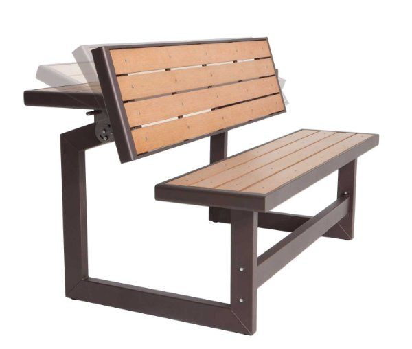 Lifetime Convertible Bench, Faux Wood Construction, # 60054:Amazon:Patio, Lawn & Garden