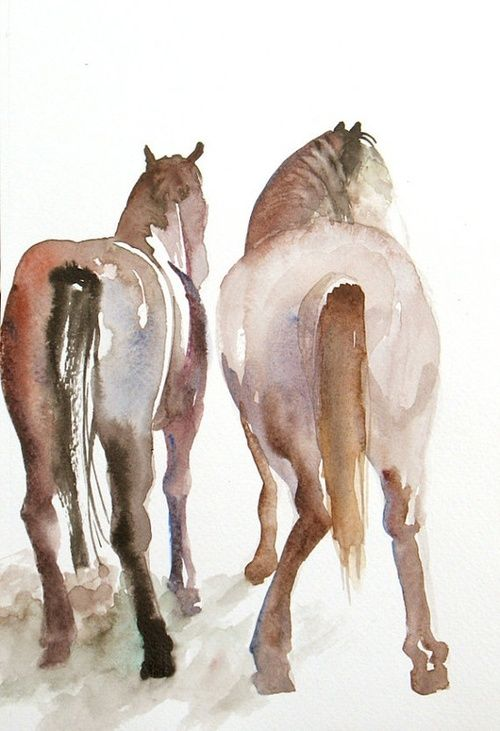horses from behind..watercolor