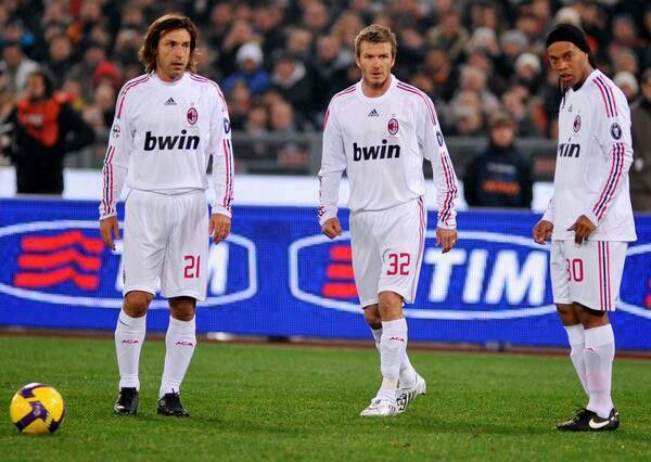 Pirlo, Beckham, and Ronaldinho too much class in one picture!!! A picture of football gods!