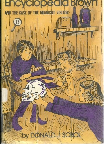 Encyclopedia Brown and the Case of the Midnight Visitor - 13 - Hardcover, Weekly Reader Books Edition 1977 (AND The Case of the Hidden Penny, Case of the Red Sweater, Case of the Painting Gerbils, Case of the Time Capsuel and 5 more stories) by Donald J. Sobol, http://www.amazon.com/dp/B0056P7TM6/ref=cm_sw_r_pi_dp_XJ.fqb14GR9T3