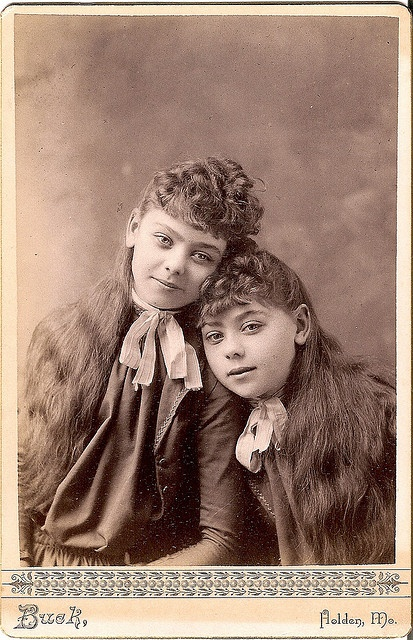 +~+~ Antique Photograph ~+~+  Twins, even down to their beautiful long hair.