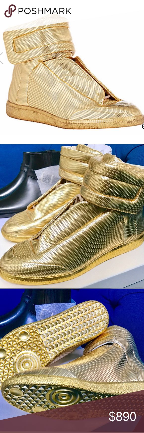 """Maison Margiela Men's Future High-Top Sneakers. Up for sale it's a brand new future high top sneakers from Maison Margiela metallic gold dot-stamped leather """"Future"""" high-top sneakers styled with foldover eyestay and wide ankle strap with hook-and-loop closure. Maison Margiela Shoes Sneakers"""
